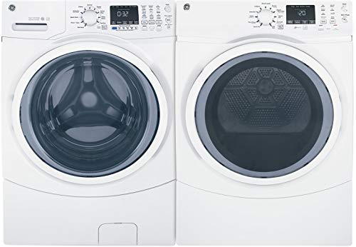 "GE White Front Load Laundry Pair with GFW450SSMWW 27"" Washer and GFD45ESSMWW 27"" Electric Dryer"