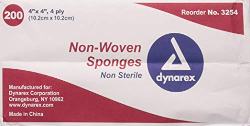 Dynarex Non-Sterile Non Woven Sponge, 4x4 Inch, 200 Count (Pack of - Pad Inch 4x4