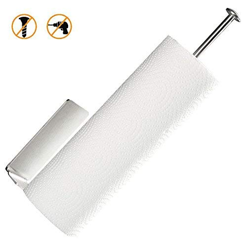 (Paper Towel Holder - 8 AM Brushed 304 Stainless Steel Self Adhesive Wall Mount Paper Towel Holder for Kitchen Bathroom Toilet, Under Cabinet - No Drilling)