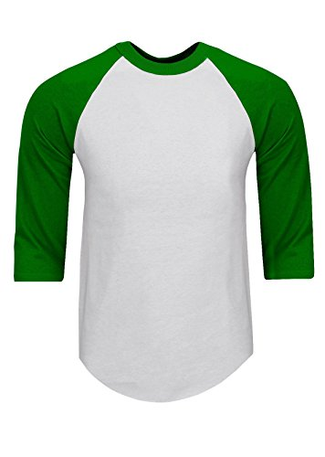 RA0106_3X Baseball T Shirts Raglan 3/4 Sleeves Tee Cotton Jersey S-5XL White/Kelly Green 3X