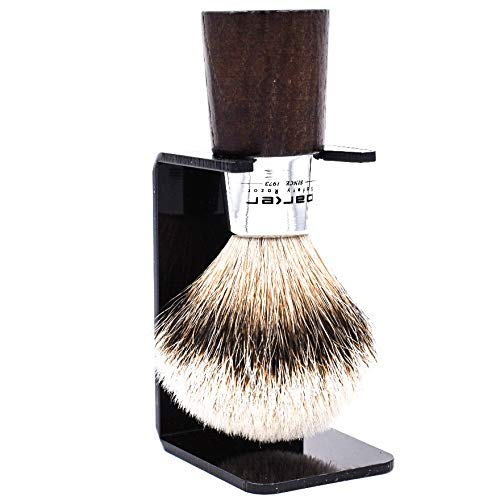 (Parker Safety Razor Handmade Shaving Brush - 100% Silvertip Badger Bristle Shave Brush - Walnut & Chrome Handle - Brush Stand Included)