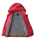 Hiheart Boys Waterproof Hooded Jackets Cotton Lined Rain Jackets Red 6/7