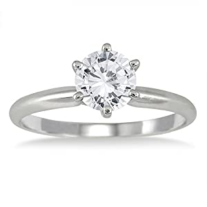 AGS Certified 1 Carat Diamond Solitaire Ring in 14K White Gold (J-K Color, I2-I3 Clarity)