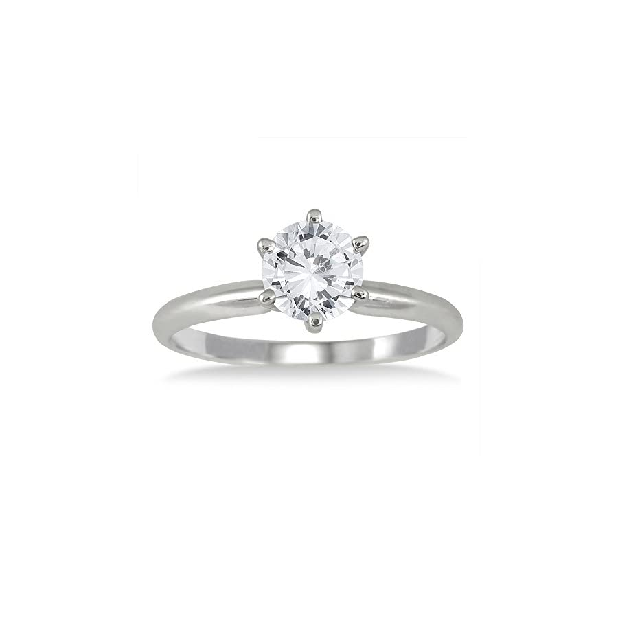AGS Certified 1 Carat Diamond Solitaire Ring in 14K White Gold (I J Color, I2 I3 Clarity)