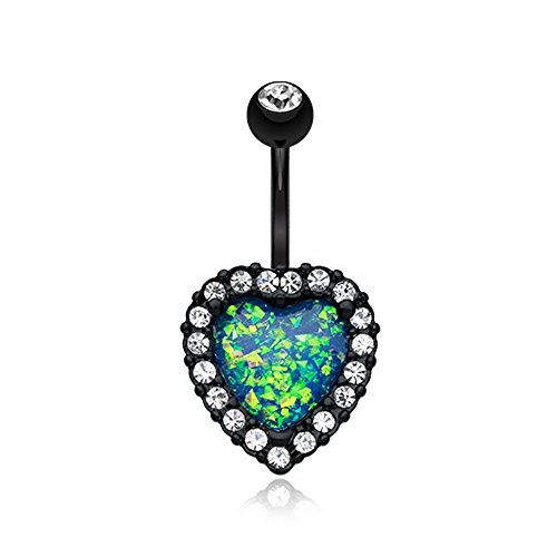 - Colorline Opalescent Heart Essentia Belly Button Ring - Sold Individually