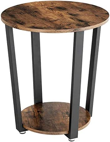 KingSo End Table, 2-Tier Round Industrial Nightstand with Storage Shelf, Easy Assembly Sturdy Sofa Coffee Table for Living Room, Bedroom, Metal Frame Side Table Rustic Brown