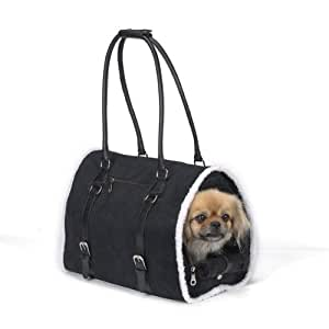 Zack & Zoey Polyester Deluxe Sherpa Small Pet Carrier, Small, Black