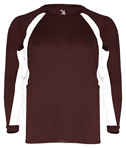 - Badger Sport Youth Long-Sleeve Hook Athletic T-Shirt 2154 Maroon/White M