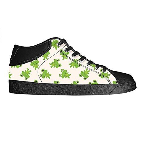 Custom Lustiger Frosch Mens Canvas shoes Schuhe Lace-up High-top Sneakers Segeltuchschuhe Leinwand-Schuh-Turnschuhe B