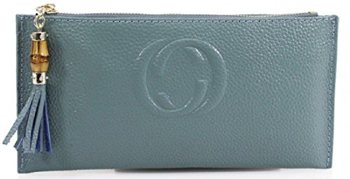 Wallet Girl Genuine Mini Board Blue Gossip Clutch Purse Pouch With Set Designer Leather Emery PLUS Tassel 0xRRnTB