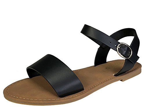 BAMBOO Sunny Feet Women's Single Band Flat Sandal with Quarter Strap, Black PU, 7.0 B US