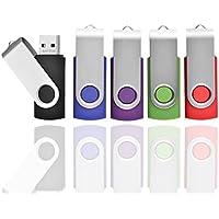 AreTop 16GB USB 2.0 Flash Drive Memory stick Fold Storage Thumb Stick Pen Swivel Design (5pcs Mixcolours)