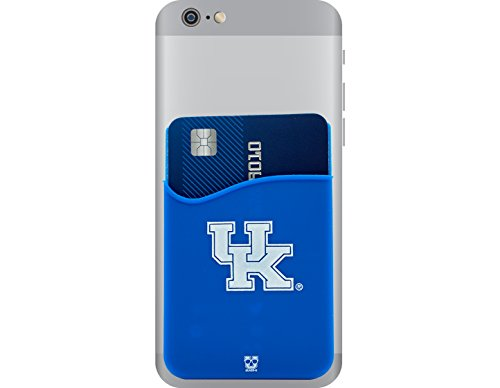 Kentucky Wildcats Adhesive Silicone Cell Phone Wallet/Card Holder for iPhone, Android, Samsung Galaxy, Most Smartphones (Ky Case 6 Iphone)