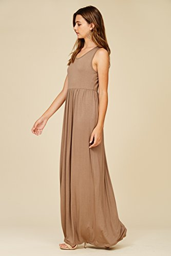 Top Annabelle Sleeveless Grey Taupe Dresses Long Maxi Racerback Casual Tank Women's ErXr6