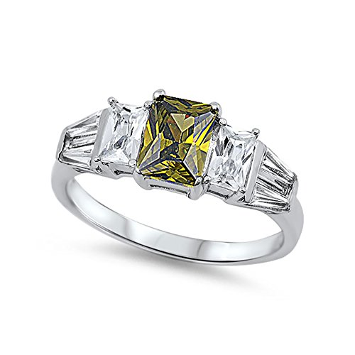 Blue Apple Co. Wedding Engagement Ring Radiant Cut Simulated Peridot Baguette CZ 925 Sterling Silver