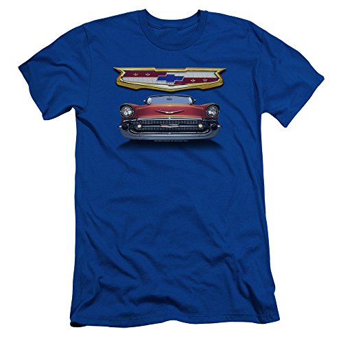 Chevrolet 1957 Bel Air Grille Slim Fit Unisex Adult T Shirt for Men and Women, X-Large Royal Blue (1957 Grille)
