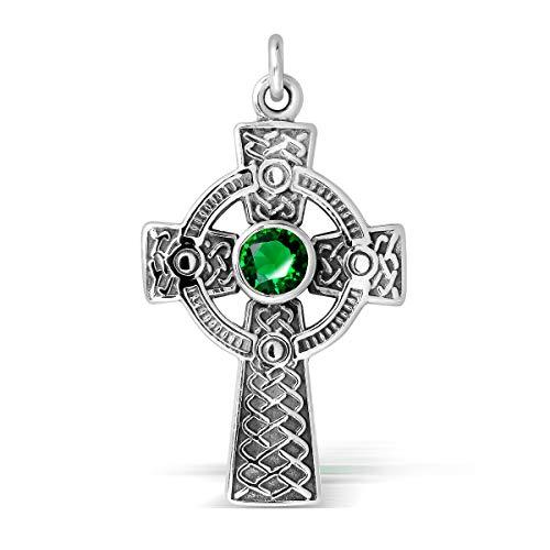 WithLoveSilver Sterling Silver 925 Celtic Cross Pendant (Green Glass)