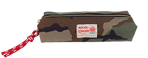 Case Small Pen - Rough Enough CORDURA PolyesterCool Small Pencil CasePen Holder Travel Organizer Bag Makeup Pouch with Gold Zipper for School Supplies Stationary Phone Accessories Kids Boys Students Military Camo