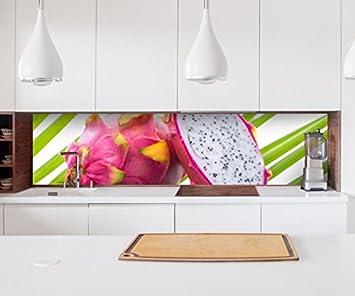 Aufkleber Küchenrückwand Drachenfrucht Obst Küche pink Essen Folie ...