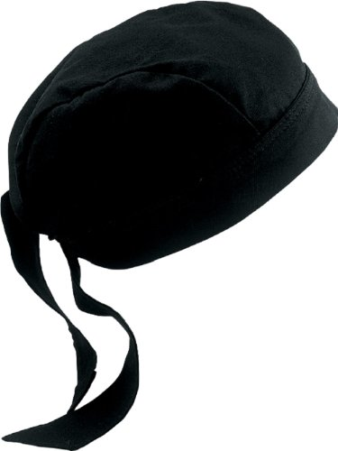 Fiumara Apparel Professional Cooking Head Wrap Ideal for Chef Hat Cotton - Black Made in USA