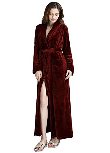 Women's Long Flannel Bathrobe Ultra Soft Plush Microfiber Fleece Robes (L/XL, Wine Red) ()