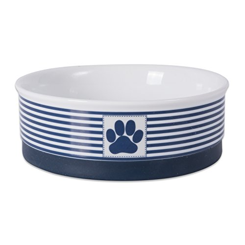 DII Bone Dry Paw Patch & Stripes Ceramic Pet Bowl for Food & Water with Non-Skid Silicone Rim for Dogs and Cats (Medium - 6