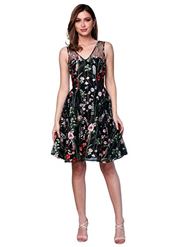 (YSMei Women's Prom Gown Embroidery Short A-line V Neck Sleeveless Dress Custom Size)