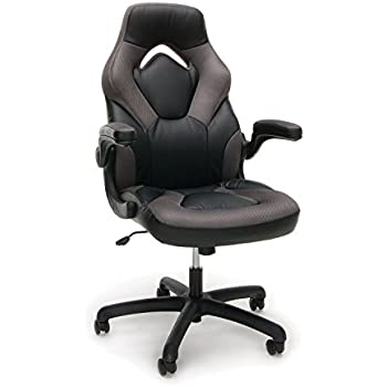 Essentials Racing Style Leather Gaming Chair - Ergonomic Swivel Computer, Office or Gaming Chair, Gray (ESS-3085-GRY)