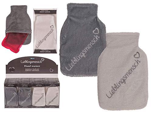 MC Trend 2er Set Taschenwärmer Handwärmer Lieblingsmensch warm kuschelig weich wiederverwendbar Grau + Weiß