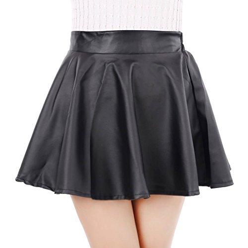 Leatherette Short Skirt for Women Winter High Waist Flare Skirt