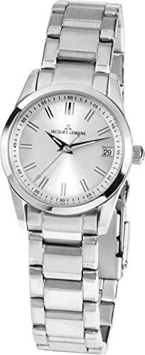 Jacques Lemans Women's Classic Liverpool 30mm Steel Bracelet & Case Quartz Silver-Tone Dial Watch 1-1811B