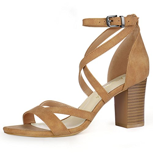 Allegra K Women's Crisscross Ankle Strap Chunky Heel Brown Sandals - 8 M US