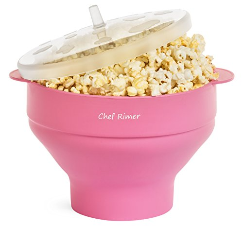 Chef Rimer Microwave Popcorn Popper Sturdy Convenient Handles Healthy No Oil Silicone Pink Collapsible Hot Air Movie Theater Aroma Great Popcorn Maker Machine.BPA PVC Free With Lid