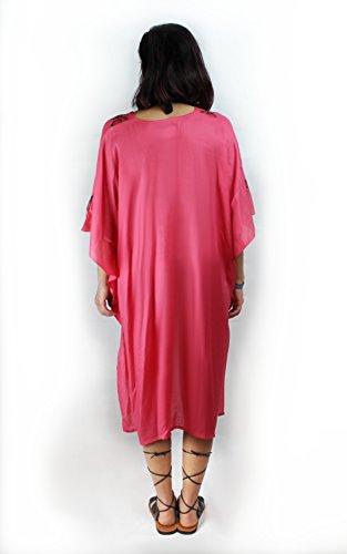 caftàn de algodon para la playa ligero de verano vestido rosa salmòn