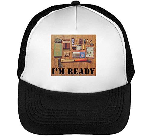 Survival Blanco Gorras Snapback Negro Hombre I'M Beisbol Ready pHqwxf