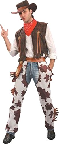Mens Fancy Dress Party Wear Male Costume Wild West Cowboy Outfit (brown/white) (Wild Wild West Outfit)