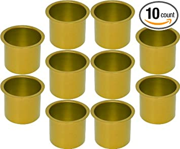 Cup Holders   10 Aluminum Jumbo Gold Poker Table Drink Cup Holders