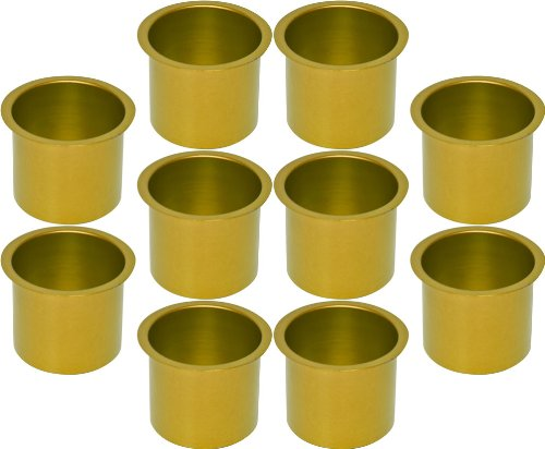 Cup Holders - 10 Aluminum Jumbo Gold Poker Table Drink Cup Holders by CCS