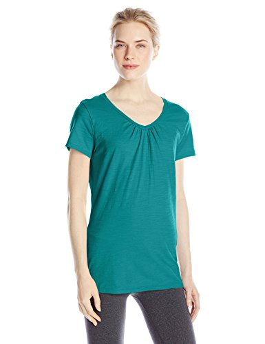 Hanes-Womens-Shirred-V-Neck-T-Shirt