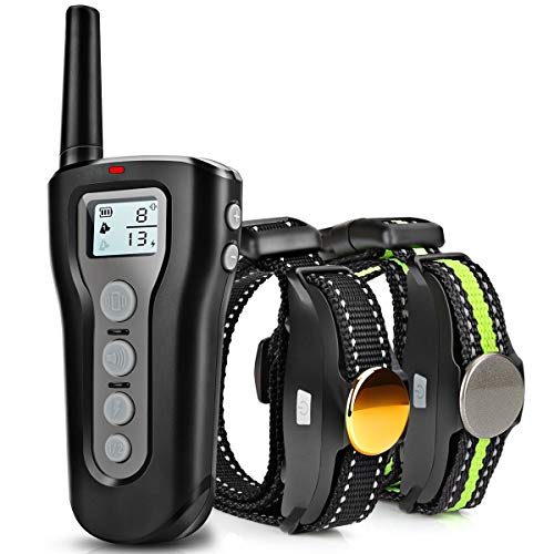 Casifor Dog Training Collar with 1000ft Remote for 2 Dogs, 100% Waterproof Rechargeable Shock Collar with Beep/Vibration/Electric Shock Modes for Medium Large Dogs(10-120 lbs) - Collar Remote Bark