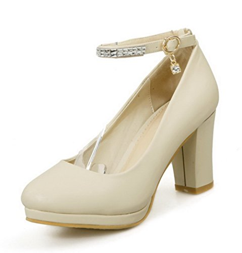 VogueZone009 Women's Buckle PU Round Closed Toe High-Heels Solid Pumps-Shoes Beige ecYhqCm