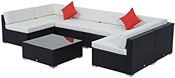 Outsunny 7-Pc. Rattan Wicker Couch Garden Sectional Sofa Set
