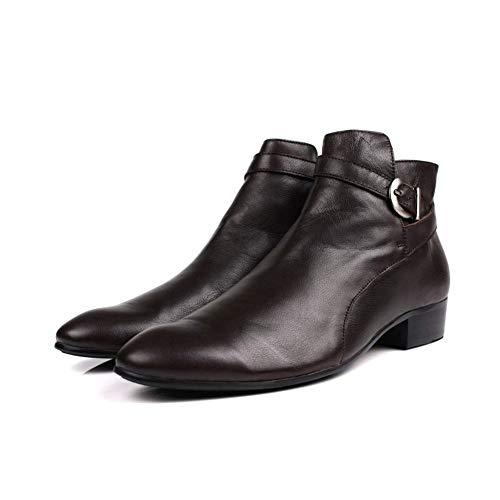 Exterior T Ayuda La Manga Zapatos Brown De Oxford Respirable Estación Casuales Negocio Los Británico Botas Aldaba Alta Hombres Antideslizante Botines Estilo 8AHwaq1