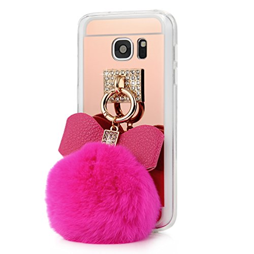 S7 Case,Galaxy S7 Case – Mavis's Diary 3D Handmade Bling Rose Gold Mirror Soft TPU Design Lovely Hot Pink Bow with Fluff Ball Shiny Crystal Diamonds C…