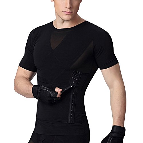 Shapewear Mens Trimmers Corset Nylon Net Fabric No Zipper Top T-Shirt Black Size XL