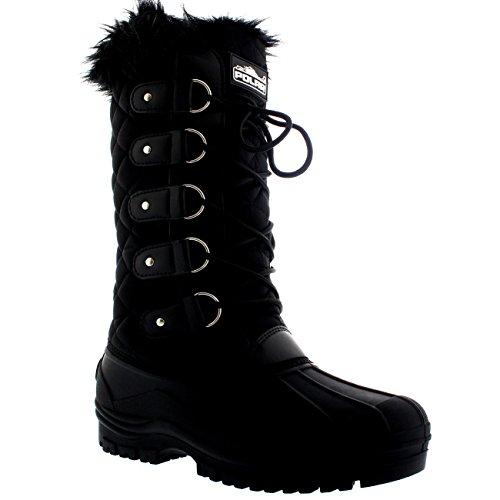 Wasserdichter taktischer Berglauf-Schnee-Knie-Stiefel der Frauen Schwarz