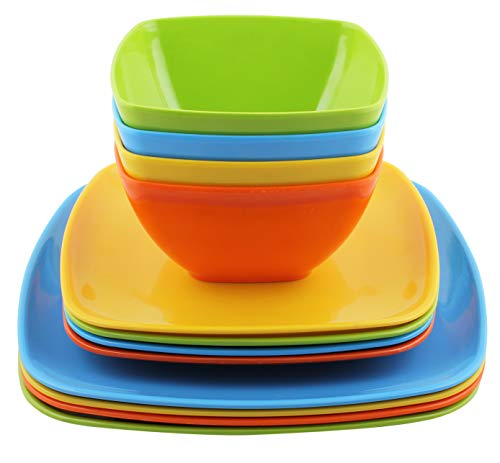 Melange 12-Piece 100% Melamine Square Dinnerware Set (Squares Solid)|Shatter-Proof and Chip-Resistant Melamine Square Plates and Bowls|Dinner Plate, Salad Plate & Soup Bowl (4 Each)|Multi-Color