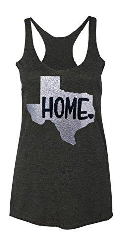 Loaded Lids Women's Texas Home Sparkle Tank Top with Glitter Finish (Medium, Grey/Silver) - Texas Glitter