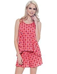 Womens 2 pc Pajama Lounge Set Print Sleep Tank & Shorts