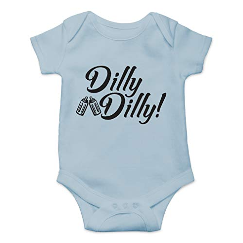 Dilly Dilly - Drink and Cheers with Daddy, Daddy's Drinking Buddy - Cute One-Piece Infant Baby Bodysuit (Newborn, Sky Blue) (Speedy Beverage)